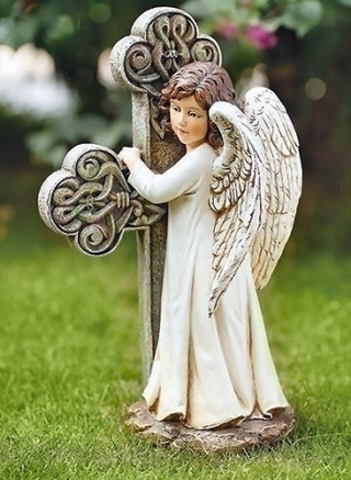 Angel With Celtic Cross Sculpture