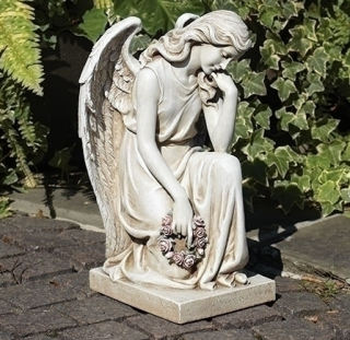 Kneeling Angel Sculpture with Roses