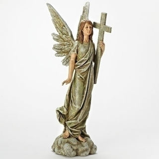 Angel Holding Cross Sculpture