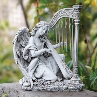 Angel With Wind Chime Harp Garden Statue