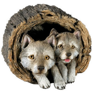 Wolf Gray Pups In Log Sculpture