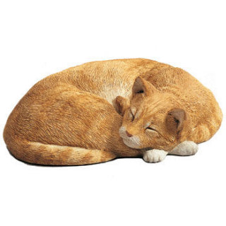 Cat Orange Sleeping Sculpture Life-Size