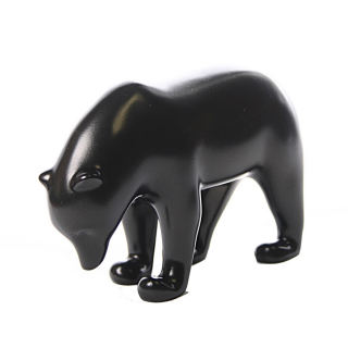 Dark Brown Bear With Head Down Statue By Pompon