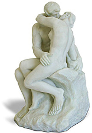The Kiss By Rodin Statue White Finish 5.5