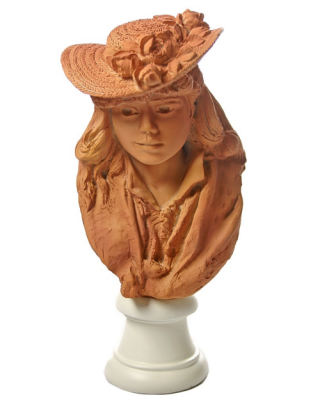 Rose Beuret Bust In Straw Hat Portrait by Rodin Statue