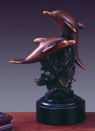 Two Dolphin Statue Figurine 6.5