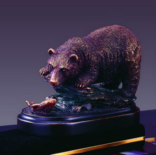 Bear & Fish Wildlife Sculpture