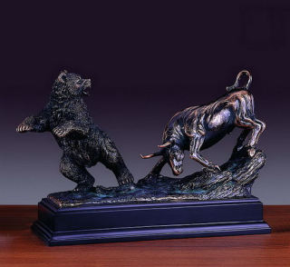 Bull & Bear Battle of Wall Street Sculpture