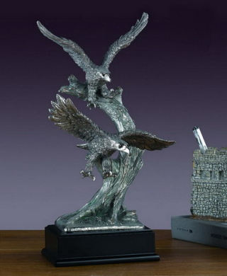 Eagles Two Pewter Overlay Sculpture 14