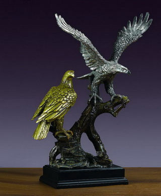 Two Eagles On Branch Sculpture 18