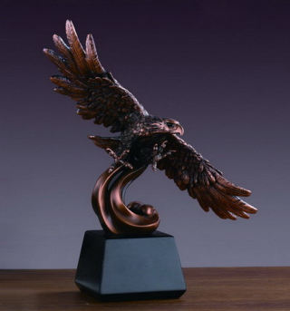 Eagle On Contemporary Wave Sculpture 12.5