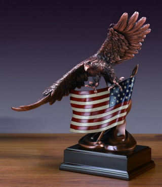 Eagle With American Flag Statue 15.5