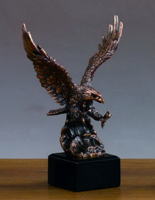 Eagle Figurine in Flight Bronze Patina 9.5