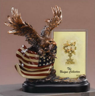 Eagle Picture Frame With American Flag Statue