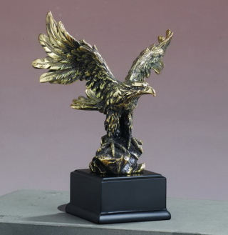 Eagle Antique Gold Statue 7.5