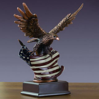 Eagle with American Flag Sculpture 15.5