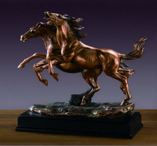 Two Running Wild Horses Sculpture 13