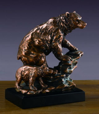 Bear With Cub Sculpture 9.5