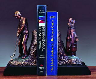 Golfer and Golf Clubs Bookends Sculptural