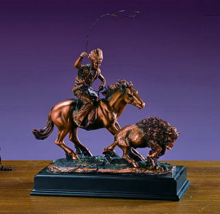 Indian Lassoing Buffalo Calf Statue 10.5