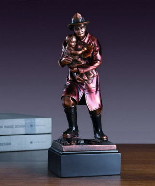 Fireman With Child Sculpture