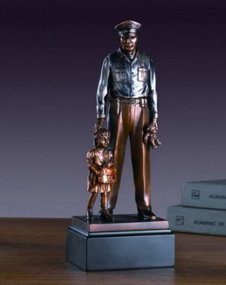 Policeman With Child Sculpture