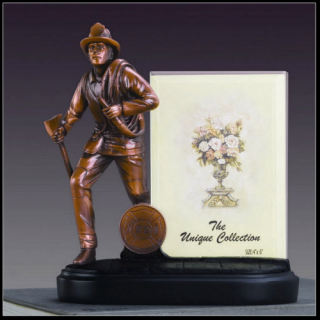 Fireman Photo Picture Frame Sculpture