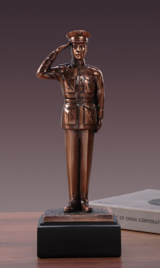 Soldier in Salute Tribute Sculpture 11.5