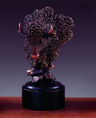 Buffalo Head Bust Sculpture 7.5