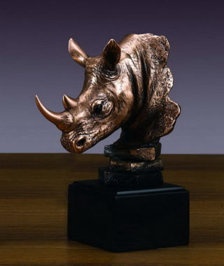 Rhinoceros Sculptural Head Bust 7.5