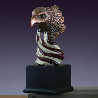 Eagle Head Bust with American Flag Statue 7.5