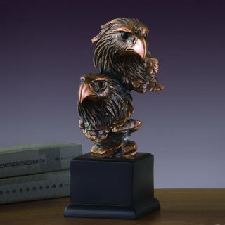 Double Eagle Heads Bust Statue 10