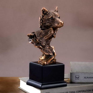 Double Wolf Heads Wildlife Bust Statue 10