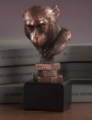 Monkey Head Sculptural Bust Statue 7.5