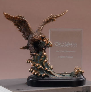 Glass Imprint Eagle on Wave Award Statue
