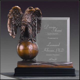 Glass Imprint Eagle Statue on Globe Award