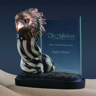Glass Imprint Eagle with Flag Statue Award
