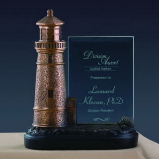 Glass Imprint Lighthouse Statue Award