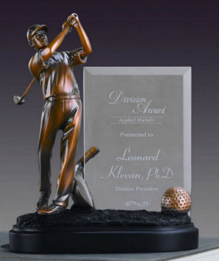Glass Imprint Golfer Frame Sculptural Award