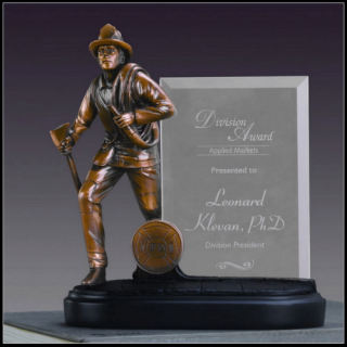 Glass Imprint Sculptural Fireman Photo Frame