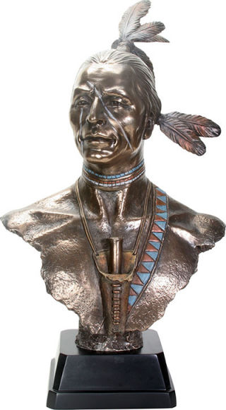 Large Native American Indian Bust Statue
