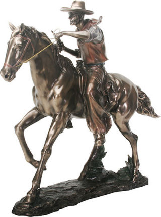 Cowboy on Horse Western Sculpture