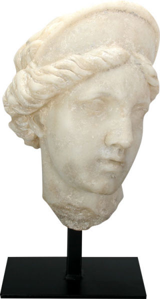 Aphrodite Bust on Museum Base Statue