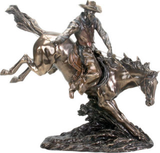 Cowboy Riding on Horse Sculpture Large 17.5