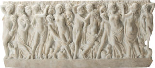 Frieze Revelers Gathering Grapes Wall Plaque
