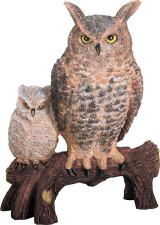 Owls on Branch Sculpture