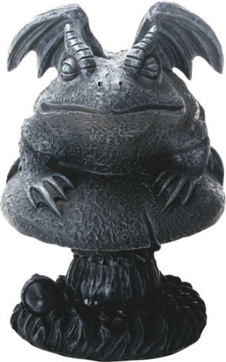 Toad Gargoyle on Mushroom Sculpture