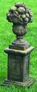 Fruit Topiary Finial on Garden Pedestal Sculpture