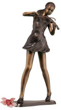 Young Girl Violinist Bronze Statue