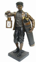 Golfer Caddy with Lantern Bronze Statue